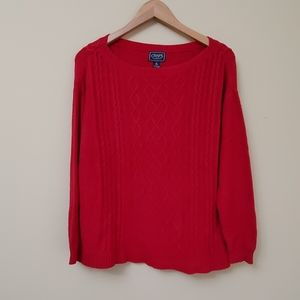Chaps clasic Red Cable knit Sweater size M